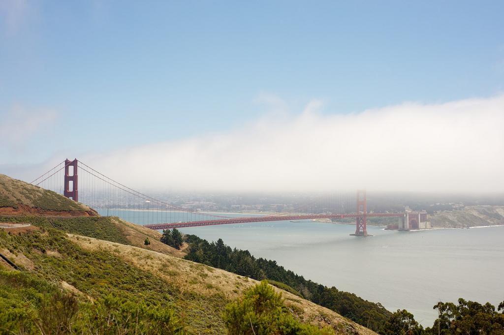 The Golden Gate Bridge through the fog seen from Hawk Hill