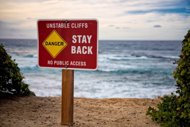 Unstable Cliffs warning sign at La Jolla Shores in San Diego